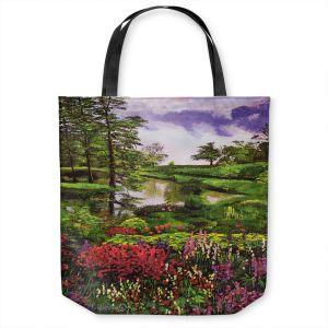 Unique Shoulder Bag Tote Bags | David Lloyd Glover - Lakeside Garden | pond lake landscape nature spring