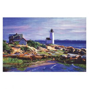 Decorative Floor Covering Mats | David Lloyd Glover - Maine Lighthouse | coast ocean shore house