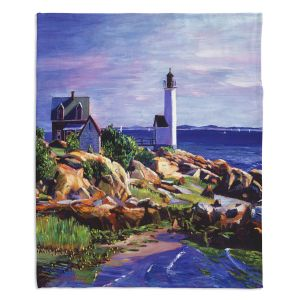 Decorative Fleece Throw Blankets | David Lloyd Glover - Maine Lighthouse | coast ocean shore house