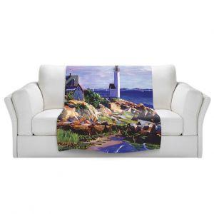 Artistic Sherpa Pile Blankets | David Lloyd Glover - Maine Lighthouse | coast ocean shore house