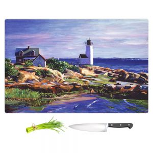 Artistic Kitchen Bar Cutting Boards | David Lloyd Glover - Maine Lighthouse | coast ocean shore house