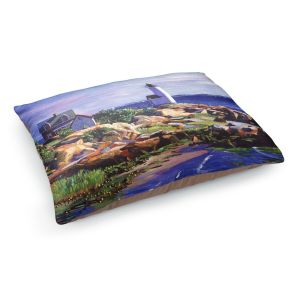 Decorative Dog Pet Beds | David Lloyd Glover - Maine Lighthouse | coast ocean shore house