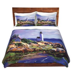 Artistic Duvet Covers and Shams Bedding | David Lloyd Glover - Maine Lighthouse | coast ocean shore house