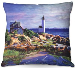 Throw Pillows Decorative Artistic | David Lloyd Glover - Maine Lighthouse | coast ocean shore house