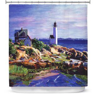 Premium Shower Curtains | David Lloyd Glover - Maine Lighthouse | coast ocean shore house