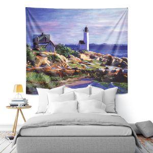 Artistic Wall Tapestry   David Lloyd Glover - Maine Lighthouse   coast ocean shore house