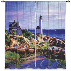Decorative Window Treatments | David Lloyd Glover - Maine Lighthouse | coast ocean shore house