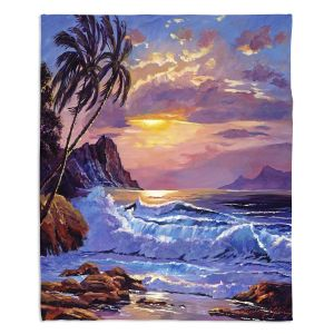 Decorative Fleece Throw Blankets | David Lloyd Glover - Maui Sunset | beach island sunset coast