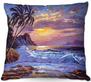 Decorative Outdoor Patio Pillow Cushion | David Lloyd Glover - Maui Sunset | beach island sunset coast