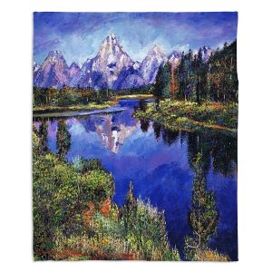 Decorative Fleece Throw Blankets | David Lloyd Glover - Mystery Lake | mountain forest nature