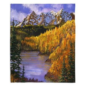Artistic Sherpa Pile Blankets | David Lloyd Glover - October Colors | mountain lake forest nature landscape