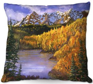 Throw Pillows Decorative Artistic | David Lloyd Glover - October Colors | mountain lake forest nature landscape