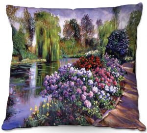 Decorative Outdoor Patio Pillow Cushion   David Lloyd Glover - Promise of Spring   park flower pond tree