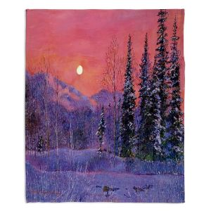 Artistic Sherpa Pile Blankets | David Lloyd Glover Rising Snow Moon