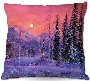 Decorative Outdoor Patio Pillow Cushion   David Lloyd Glover - Rising Snow Moon