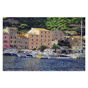 Decorative Floor Covering Mats | David Lloyd Glover - Riviera Morning | still life impressionism harbor bay city