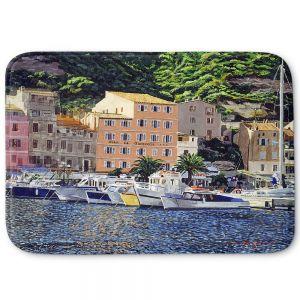 Decorative Bathroom Mats | David Lloyd Glover - Riviera Morning | still life impressionism harbor bay city