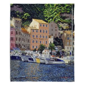 Decorative Fleece Throw Blankets | David Lloyd Glover - Riviera Morning | still life impressionism harbor bay city