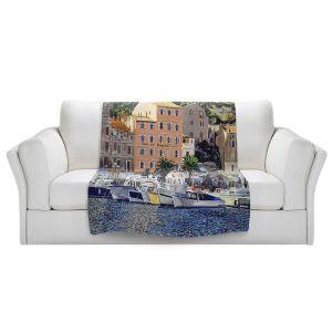 Artistic Sherpa Pile Blankets | David Lloyd Glover - Riviera Morning | still life impressionism harbor bay city