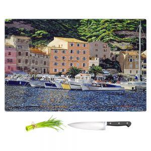 Artistic Kitchen Bar Cutting Boards | David Lloyd Glover - Riviera Morning | still life impressionism harbor bay city