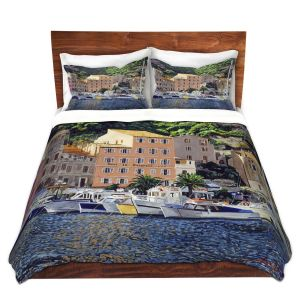 Artistic Duvet Covers and Shams Bedding | David Lloyd Glover - Riviera Morning | still life impressionism harbor bay city
