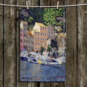 Unique Bathroom Towels | David Lloyd Glover - Riviera Morning | still life impressionism harbor bay city