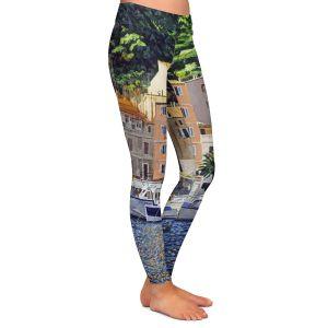 Casual Comfortable Leggings | David Lloyd Glover - Riviera Morning | still life impressionism harbor bay city
