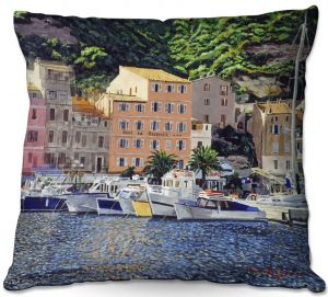 Throw Pillows Decorative Artistic | David Lloyd Glover - Riviera Morning | still life impressionism harbor bay city