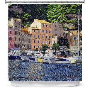 Premium Shower Curtains | David Lloyd Glover - Riviera Morning | still life impressionism harbor bay city
