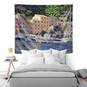 Artistic Wall Tapestry   David Lloyd Glover - Riviera Morning   still life impressionism harbor bay city