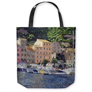 Unique Shoulder Bag Tote Bags | David Lloyd Glover - Riviera Morning | still life impressionism harbor bay city