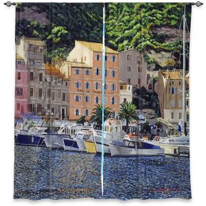 Decorative Window Treatments | David Lloyd Glover - Riviera Morning | still life impressionism harbor bay city