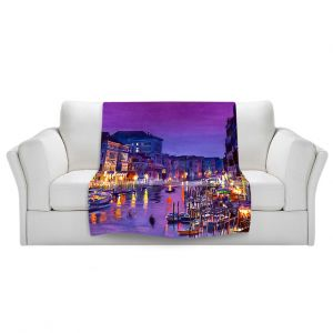 Artistic Sherpa Pile Blankets | David Lloyd Glover Romantic Venice Night