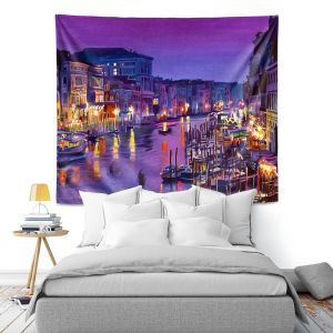 Artistic Wall Tapestry | David Lloyd Glover Romantic Venice Night