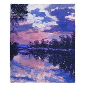 Decorative Fleece Throw Blankets | David Lloyd Glover - Seine River Dawn | river landscape impressionism