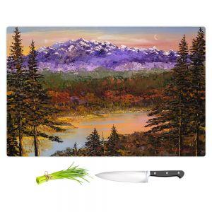 Artistic Kitchen Bar Cutting Boards | David Lloyd Glover - Silent Vision | mountain lake pond forest landscape