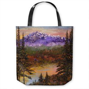 Unique Shoulder Bag Tote Bags | David Lloyd Glover - Silent Vision | mountain lake pond forest landscape