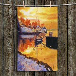Unique Bathroom Towels   David Lloyd Glover - Snow Harbor   water winter boats