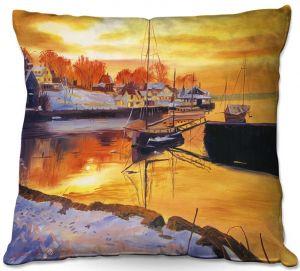 Decorative Outdoor Patio Pillow Cushion   David Lloyd Glover - Snow Harbor   water winter boats