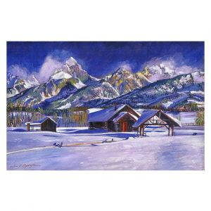Decorative Floor Covering Mats | David Lloyd Glover - Snowy Log Cabin | winter snow forest mountains ski