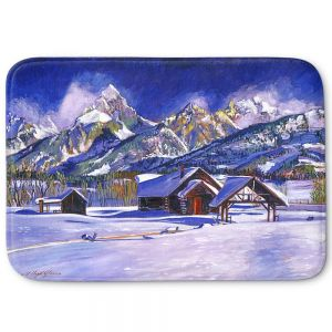 Decorative Bathroom Mats | David Lloyd Glover - Snowy Log Cabin | winter snow forest mountains ski