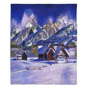 Decorative Fleece Throw Blankets | David Lloyd Glover - Snowy Log Cabin | winter snow forest mountains ski