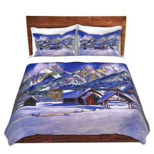 Artistic Duvet Covers and Shams Bedding | David Lloyd Glover - Snowy Log Cabin | winter snow forest mountains ski