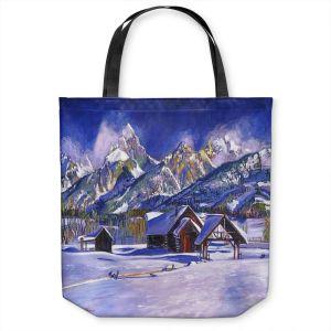 Unique Shoulder Bag Tote Bags | David Lloyd Glover - Snowy Log Cabin | winter snow forest mountains ski