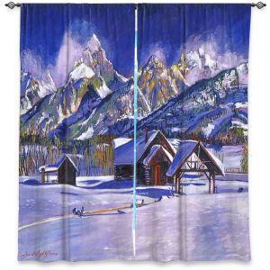 Decorative Window Treatments | David Lloyd Glover - Snowy Log Cabin | winter snow forest mountains ski