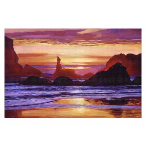 Decorative Floor Covering Mats | David Lloyd Glover - Sunset at Oregon Rocks | landscape mountain nature
