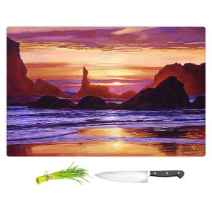 Artistic Kitchen Bar Cutting Boards | David Lloyd Glover - Sunset at Oregon Rocks | landscape mountain nature