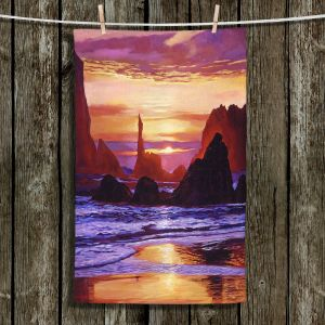 Unique Hanging Tea Towels | David Lloyd Glover - Sunset at Oregon Rocks | landscape mountain nature