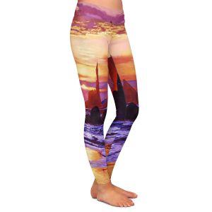 Casual Comfortable Leggings | David Lloyd Glover - Sunset at Oregon Rocks | landscape mountain nature
