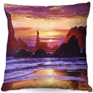 Decorative Outdoor Patio Pillow Cushion | David Lloyd Glover - Sunset at Oregon Rocks | landscape mountain nature